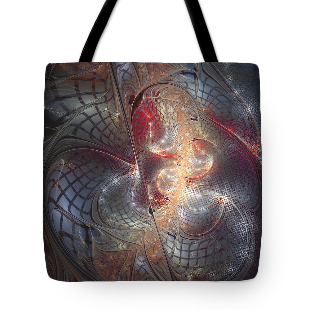 Abstract Tote Bag featuring the digital art Happy Trails by Casey Kotas