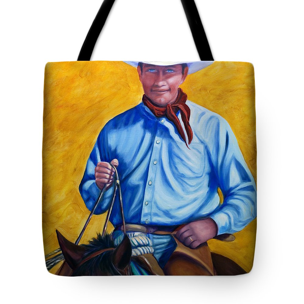 Cowboy Tote Bag featuring the painting Happy Trails by Shannon Grissom