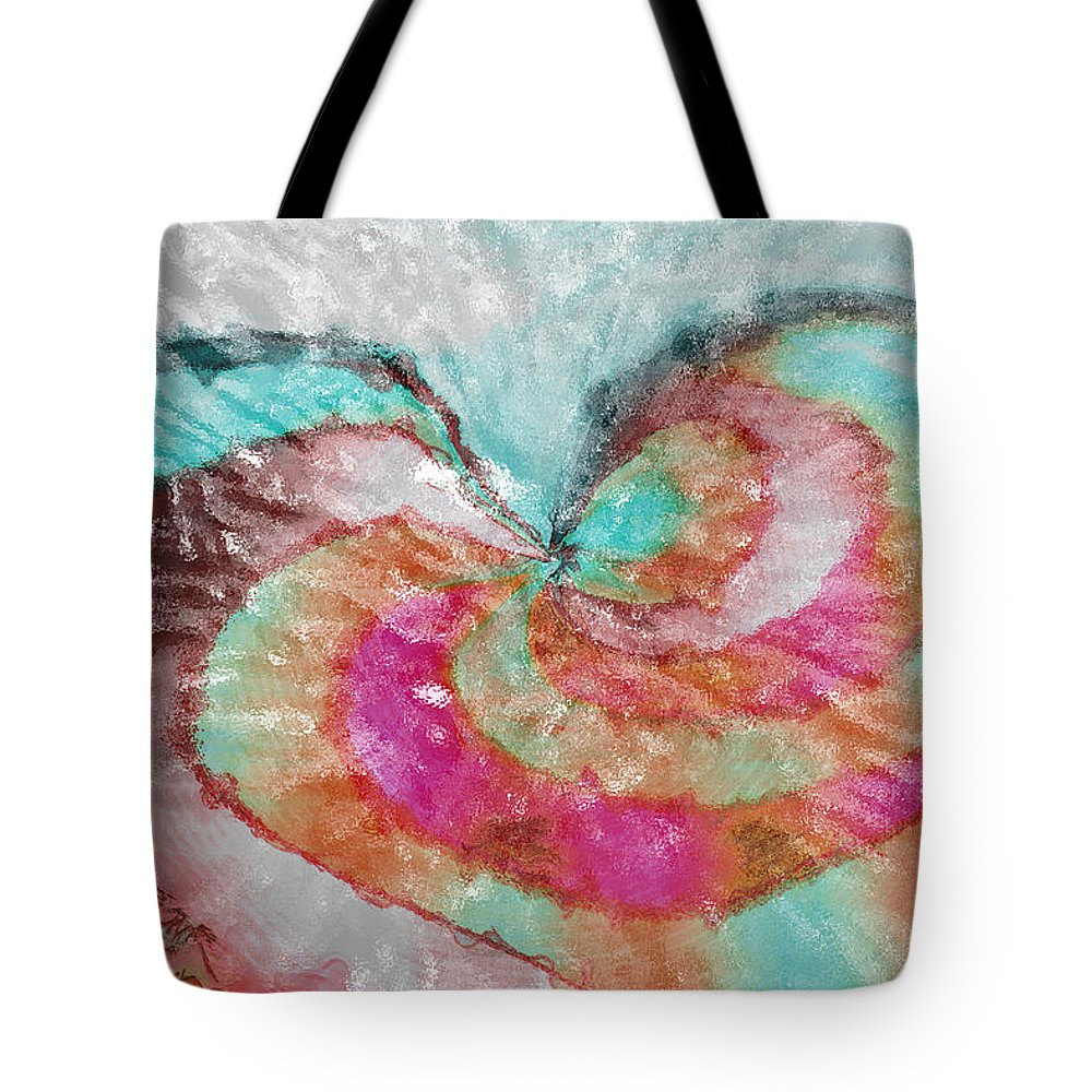 Abstract Art Tote Bag featuring the digital art Happy Valentine's Day by Linda Sannuti