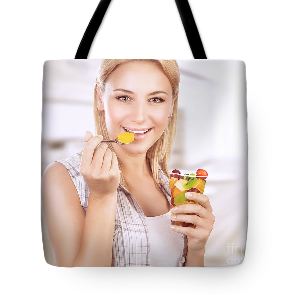 Adult Tote Bag featuring the photograph Happy Woman Eat Fruit Salad by Anna Om