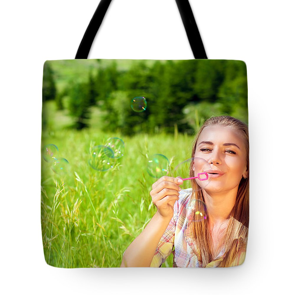 Attractive Tote Bag featuring the photograph Happy Woman Outdoors by Anna Om
