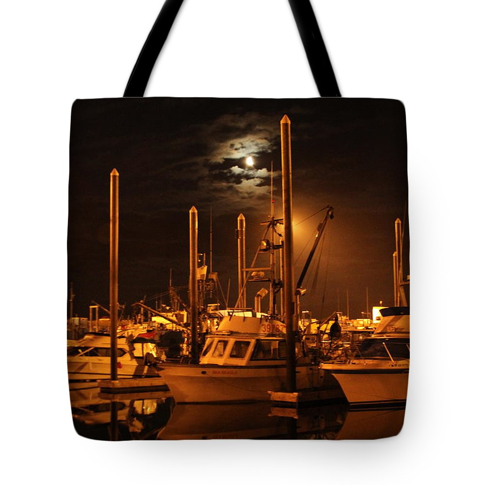 Boat Tote Bag featuring the photograph Harbor Moon by Rick Monyahan