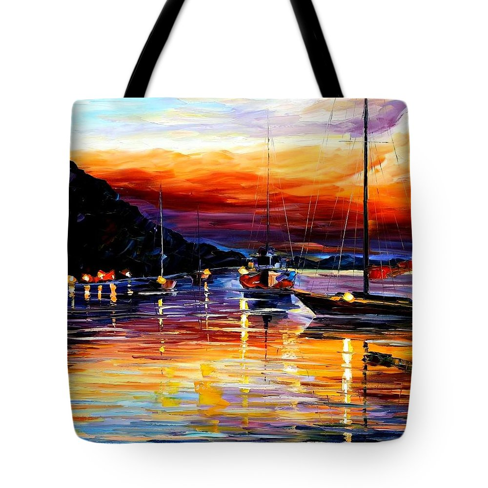 Afremov Tote Bag featuring the painting Harbor Of Messina - Sicily by Leonid Afremov