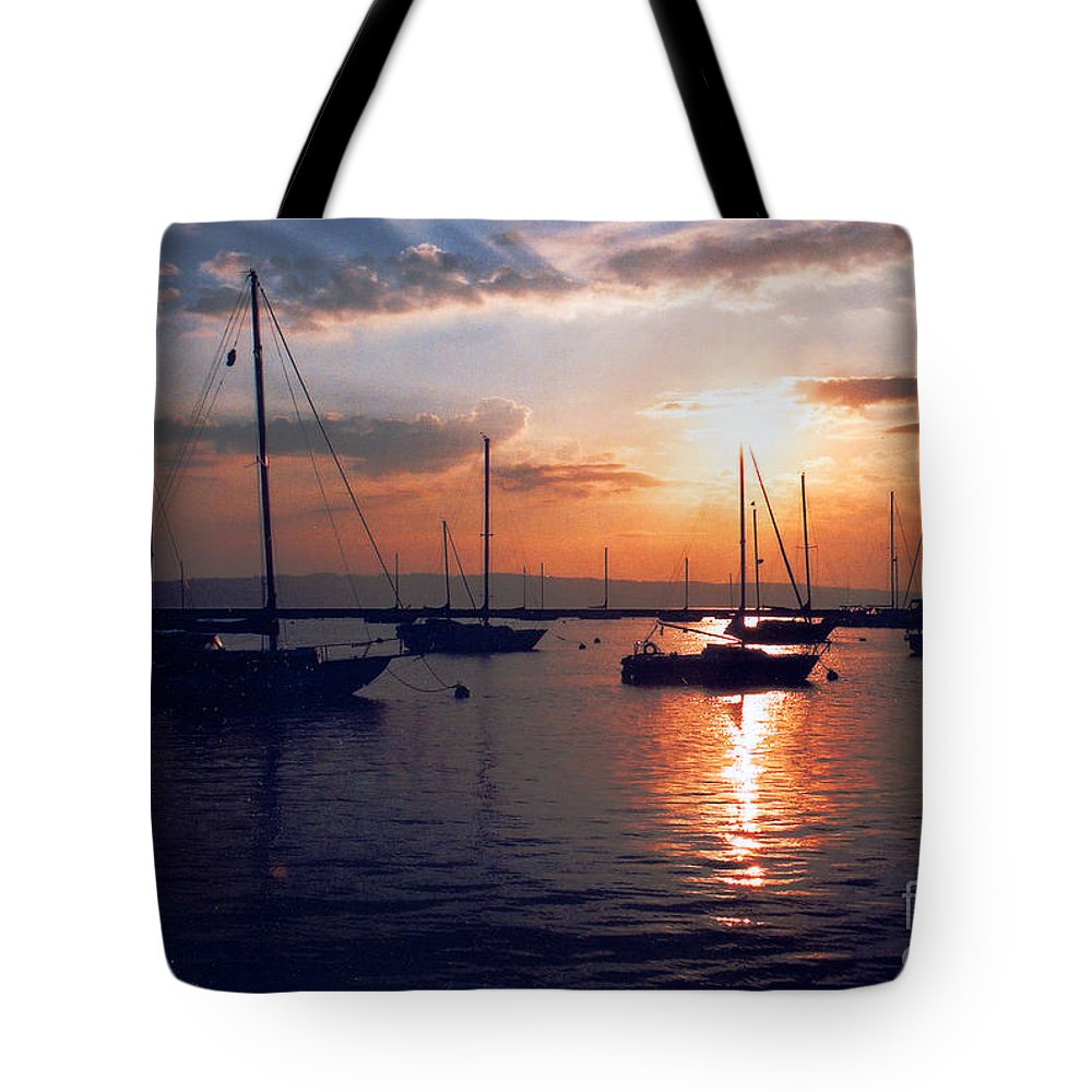 Sunrise Tote Bag featuring the photograph Harbor Sunrise by Crystal Nederman