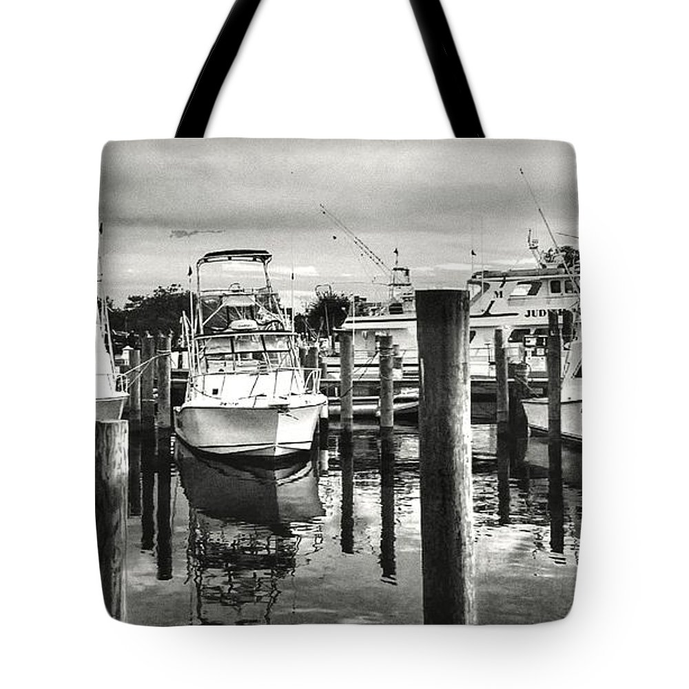 Black And White Tote Bag featuring the photograph Harbour Scene by Michael Forte