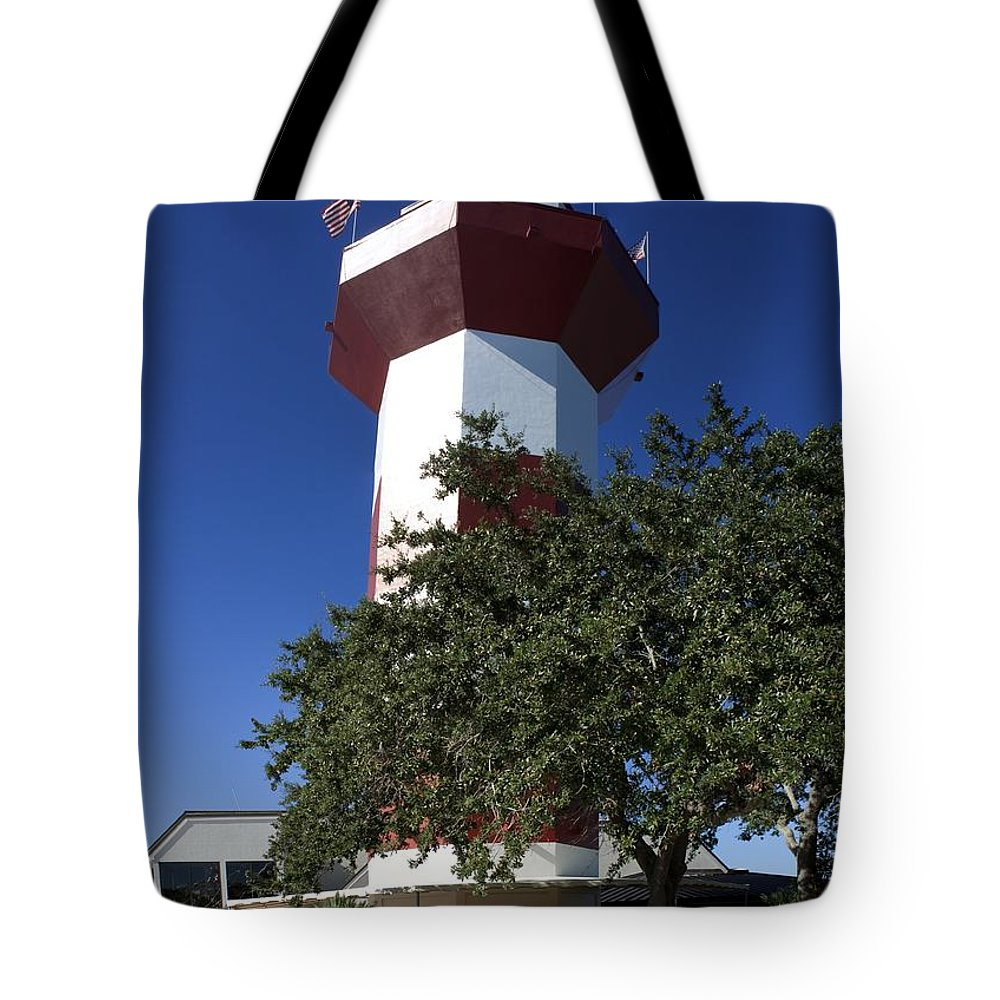 Hilton Head Tote Bag featuring the photograph Harbourtown Lighthouse by Thomas Marchessault