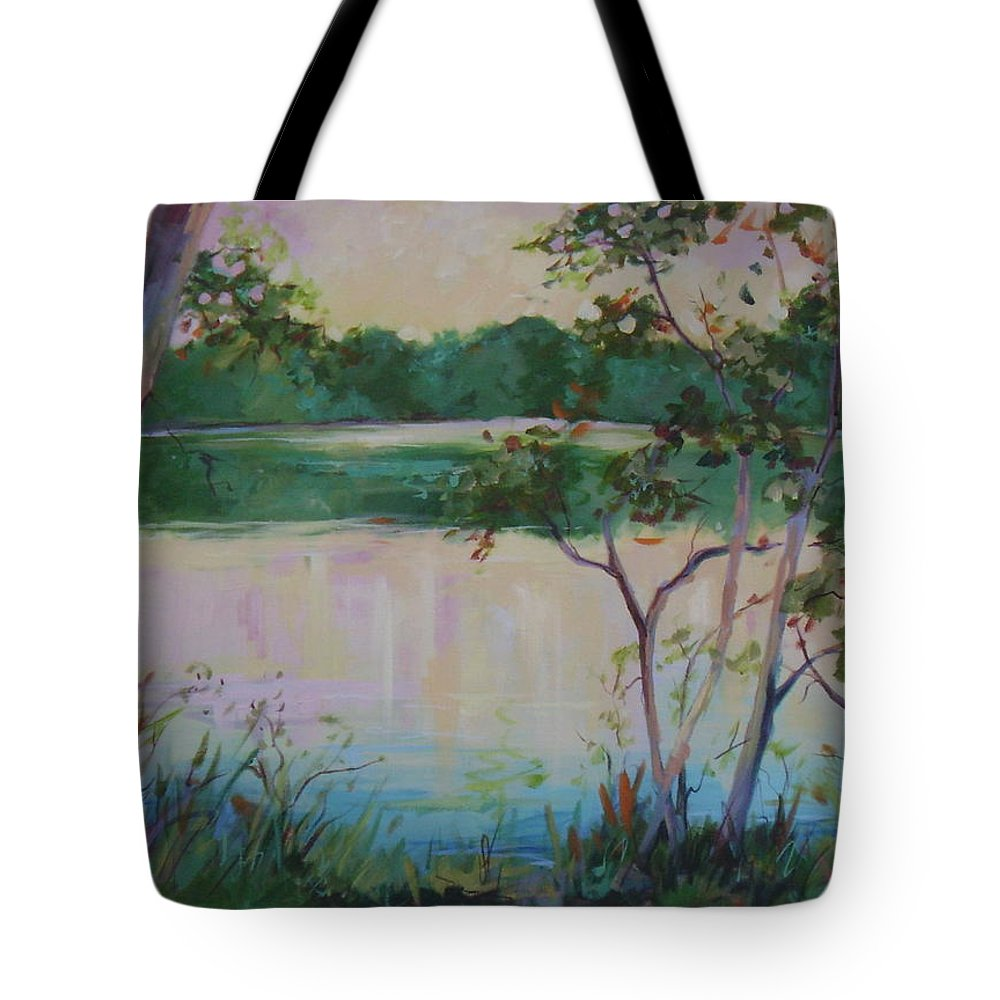 Lakes Tote Bag featuring the painting Hard Labor Creek by Ginger Concepcion
