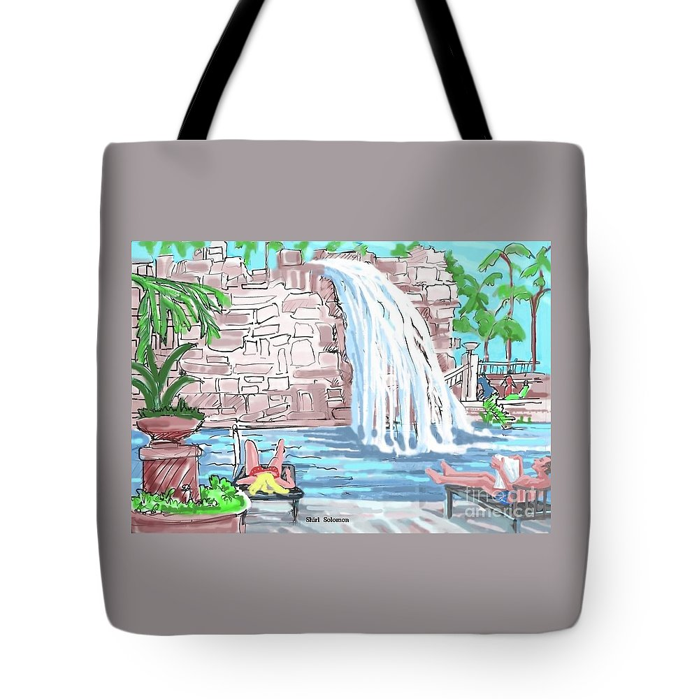 Drawing Tote Bag featuring the drawing Hard Rock Casino Hotel, Fl. by Shirl Solomon