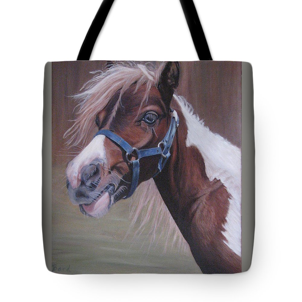 Horse Tote Bag featuring the painting Harlequin by Elizabeth Bard