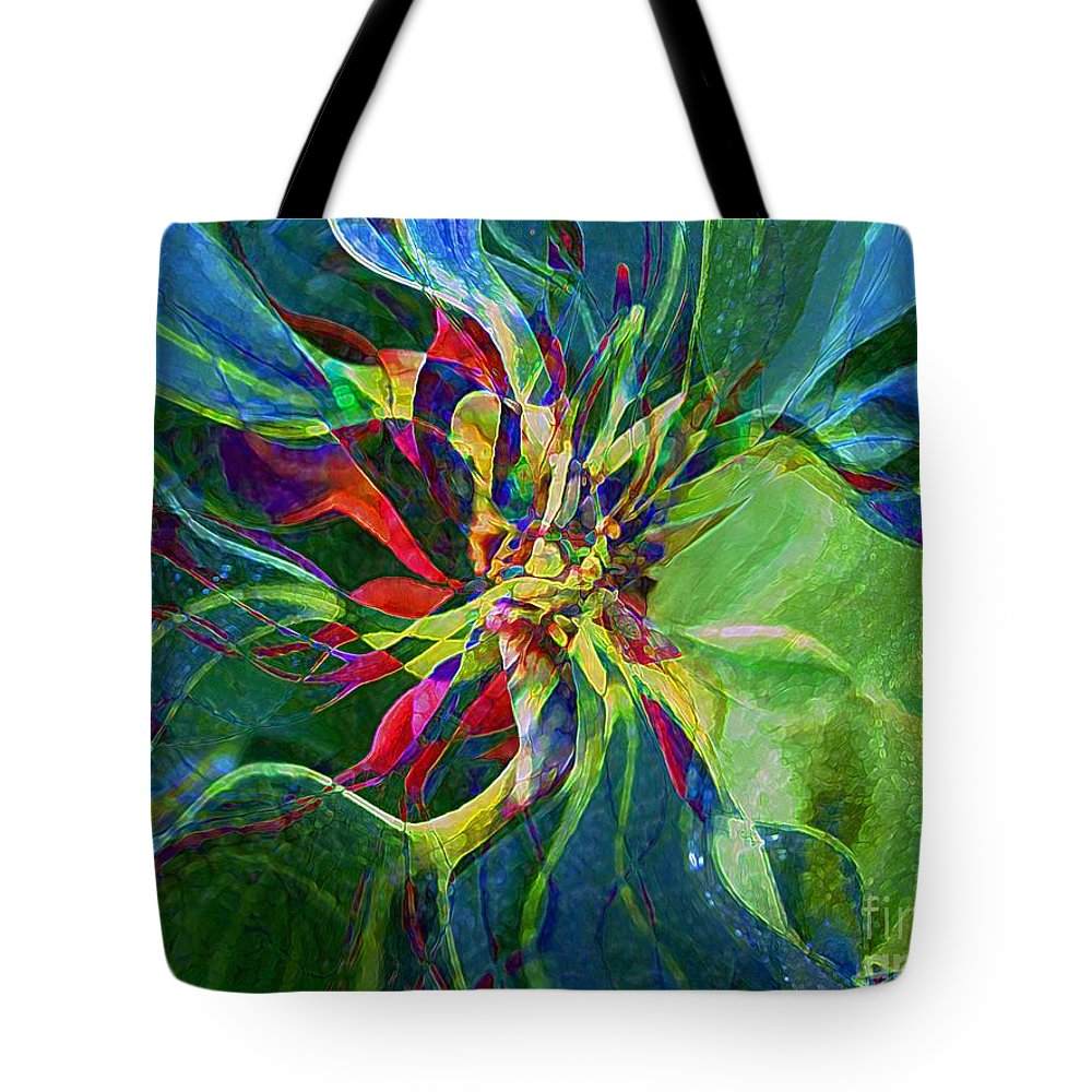 Abstract Tote Bag featuring the painting Harlequin Poinsettia by RC DeWinter