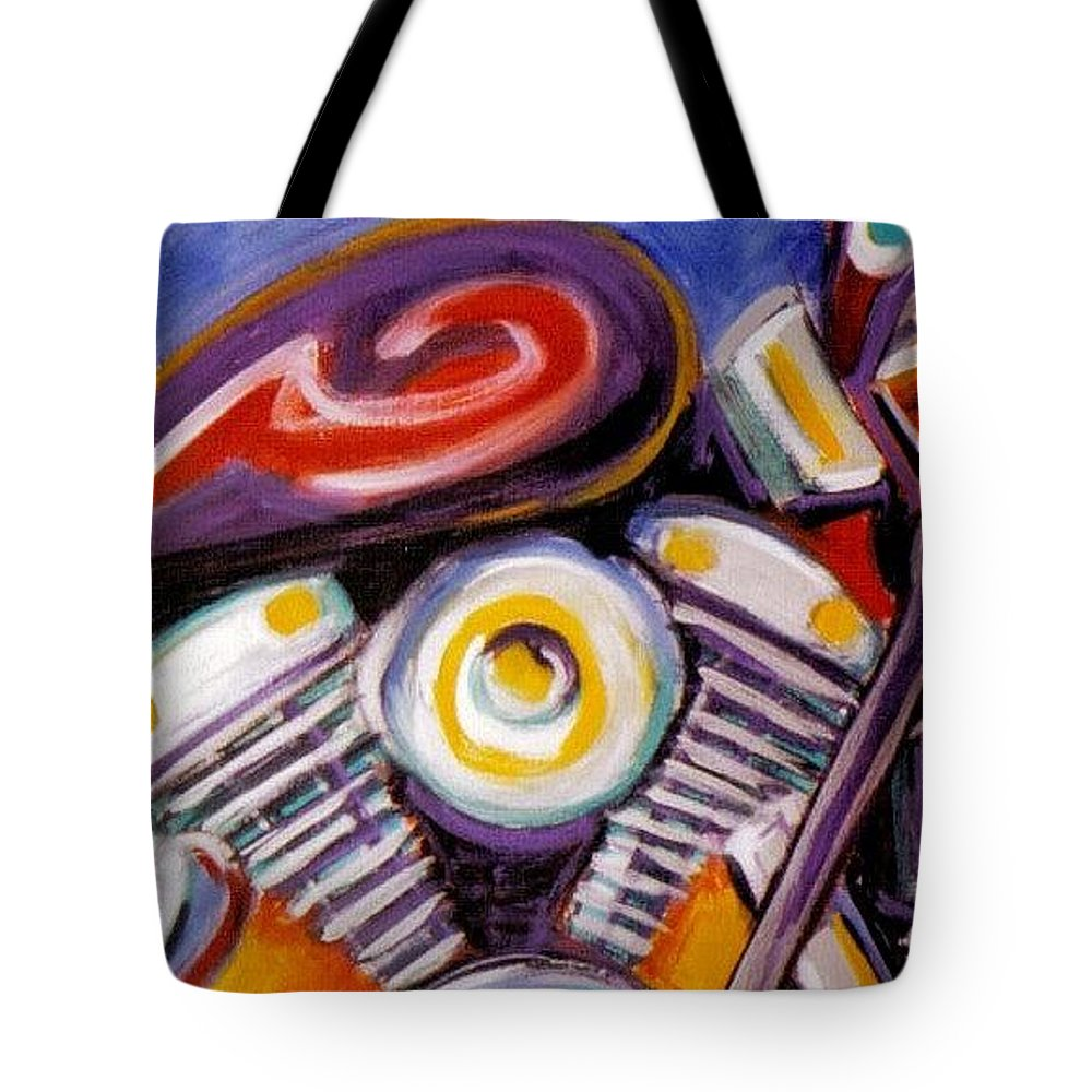 Abstract Tote Bag featuring the painting Harley Closeup by Anita Burgermeister