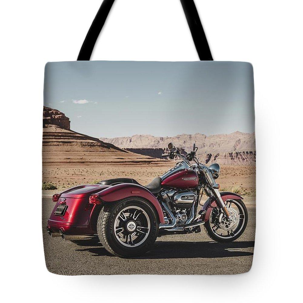 Harley-davidson Freewheeler Tote Bag featuring the digital art Harley-Davidson Freewheeler by Super Lovely