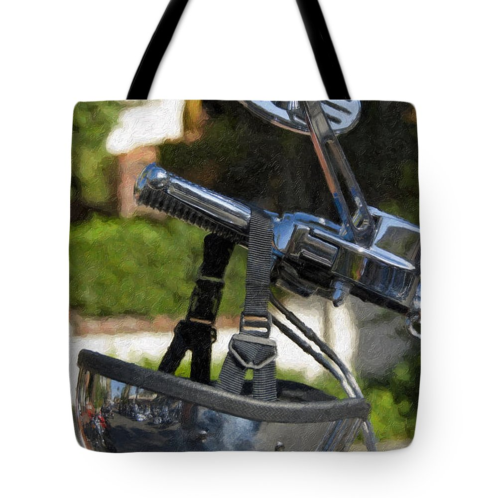 Helmet Tote Bag featuring the photograph Harley Davidson Helmet And Handlebar Controls Switches by David Zanzinger