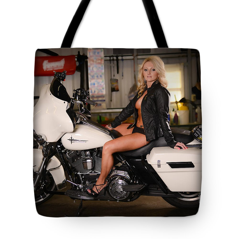 Harley Tote Bag featuring the photograph Harley Davidson Motorcycle Babe by Jt PhotoDesign