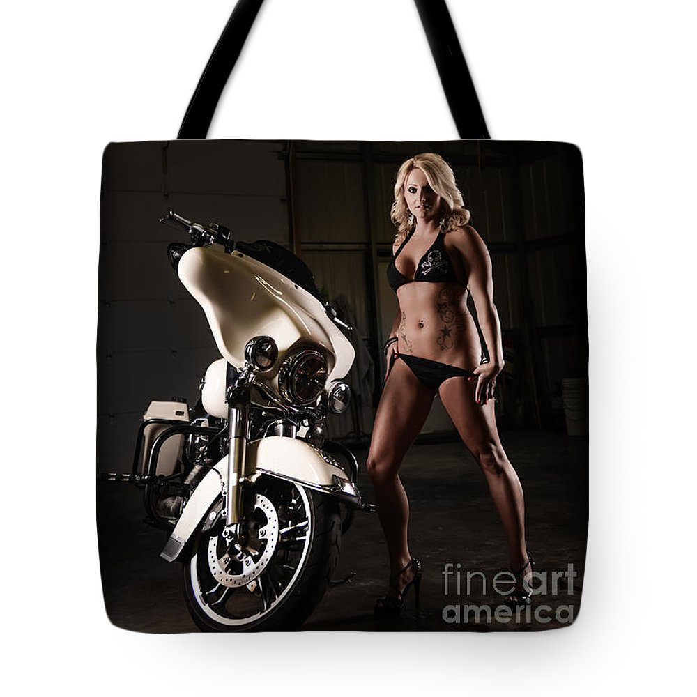 Harley Tote Bag featuring the photograph Harley Davidson Motorcycle Bikini by Jt PhotoDesign