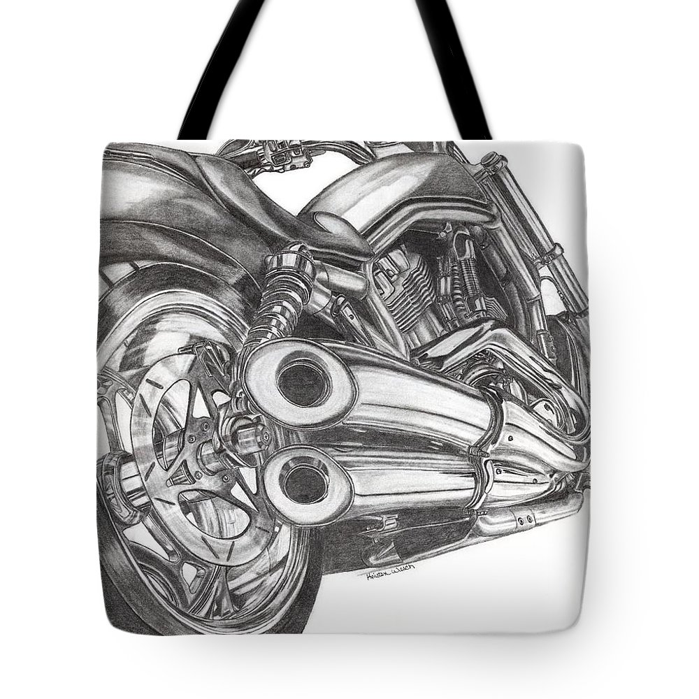 Harley Davidson Tote Bag featuring the drawing Harley by Kristen Wesch