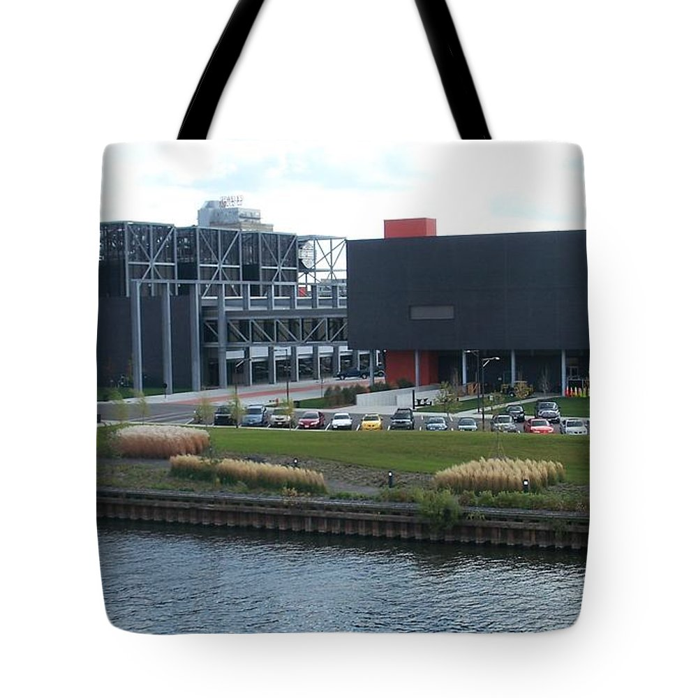 Architechture Tote Bag featuring the photograph Harley Museum Milwaukee by Anita Burgermeister