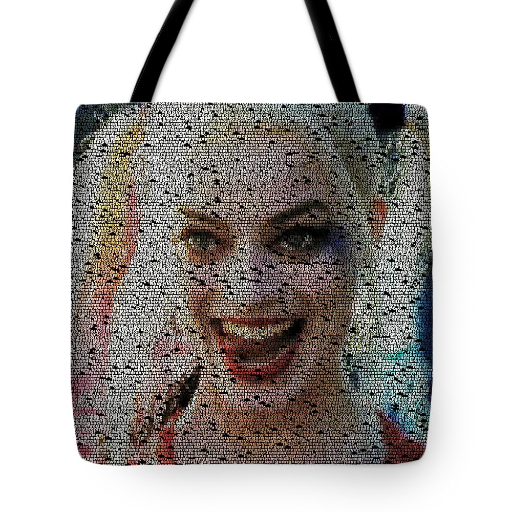 Suicide Squad Tote Bag featuring the painting Harley Quinn Quotes Mosaic by Paul Van Scott