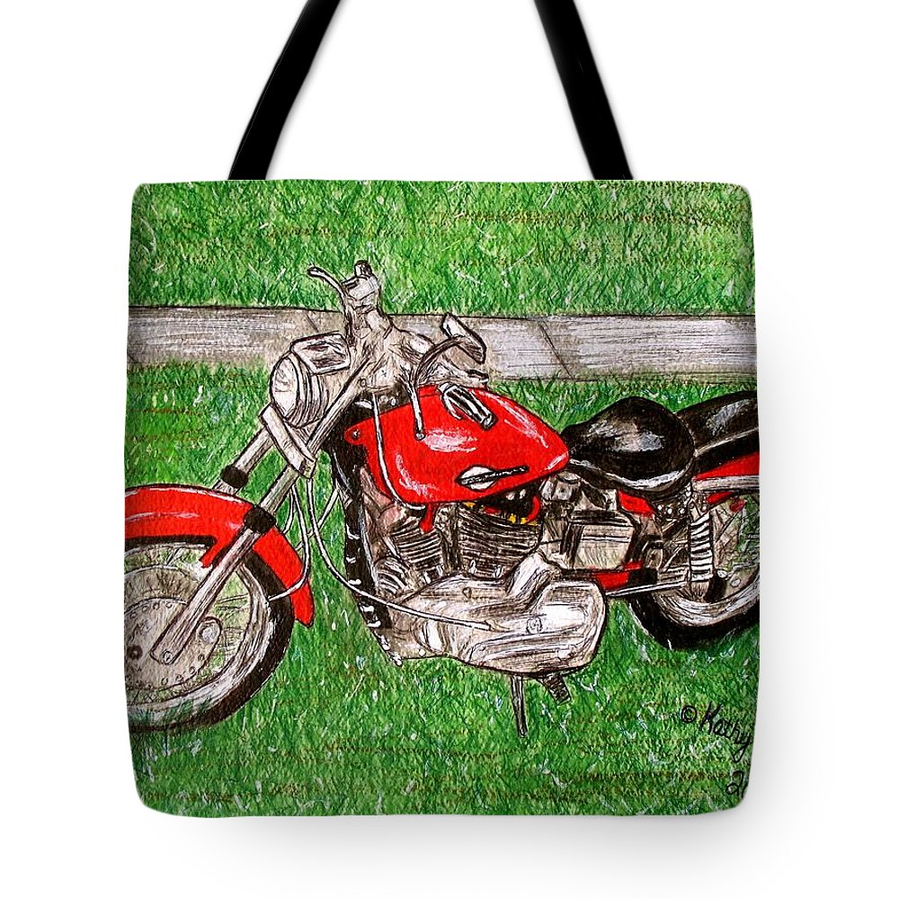 Harley Tote Bag featuring the painting Harley Red Sportster Motorcycle by Kathy Marrs Chandler