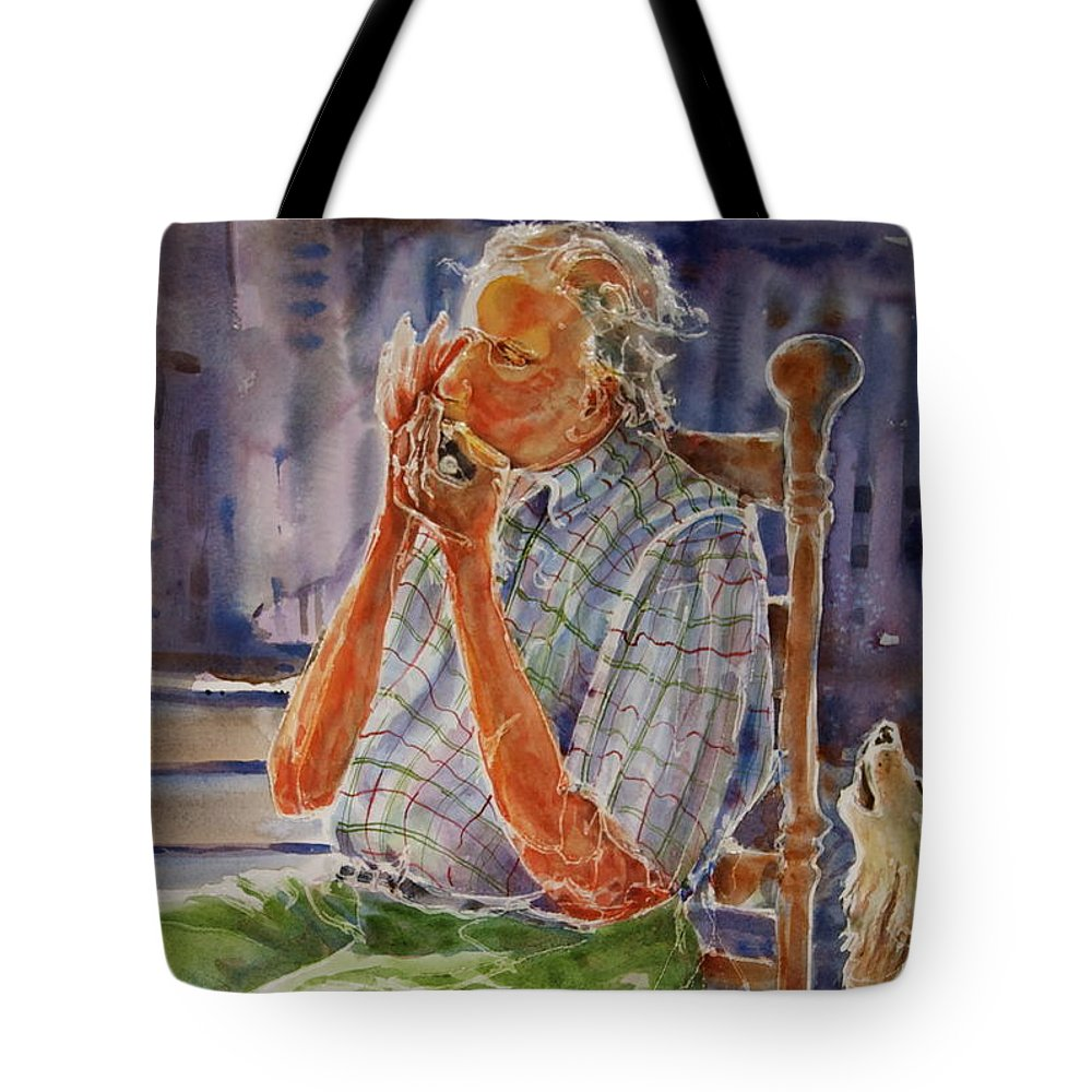 Harmonica Tote Bag featuring the painting Harmonica Player And A Howler by Shirley Sykes Bracken