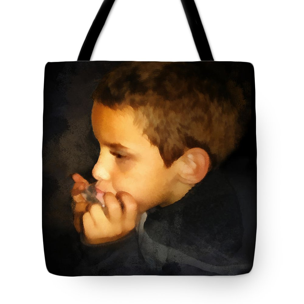 Harmonica Tote Bag featuring the digital art Harmonica Player by Francesa Miller