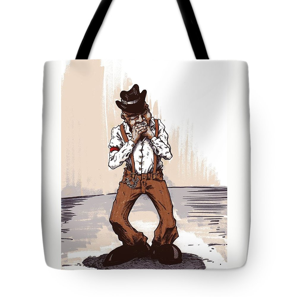 Blues Tote Bag featuring the drawing Harmonica by Tobey Anderson