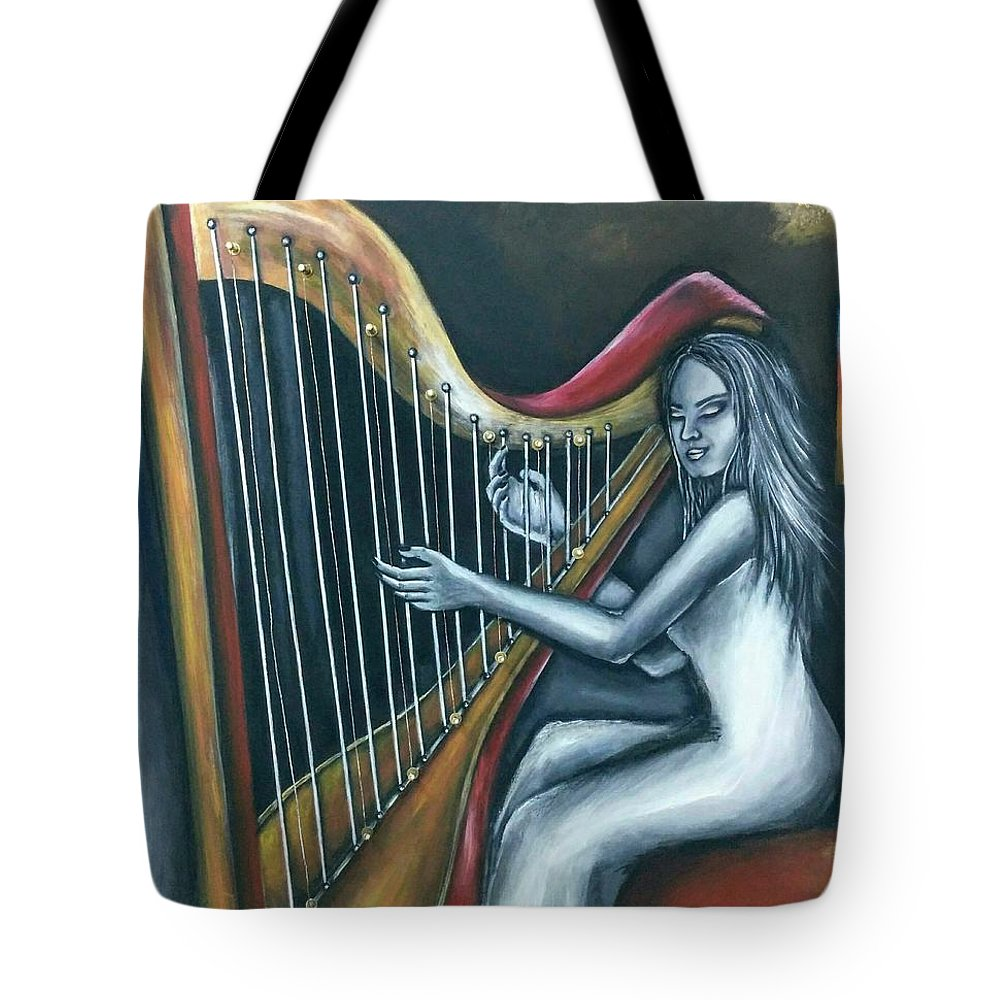 Woman Tote Bag featuring the painting Harmony Of Absence by Despoina Ntarda