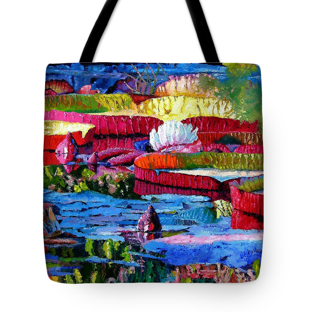 Water Lilies Tote Bag featuring the painting Harmony Of Color And Light by John Lautermilch