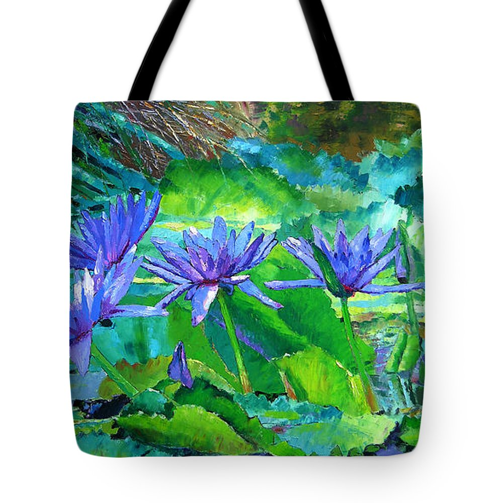 Purple Water Lilies Tote Bag featuring the painting Harmony Of Purple And Green by John Lautermilch