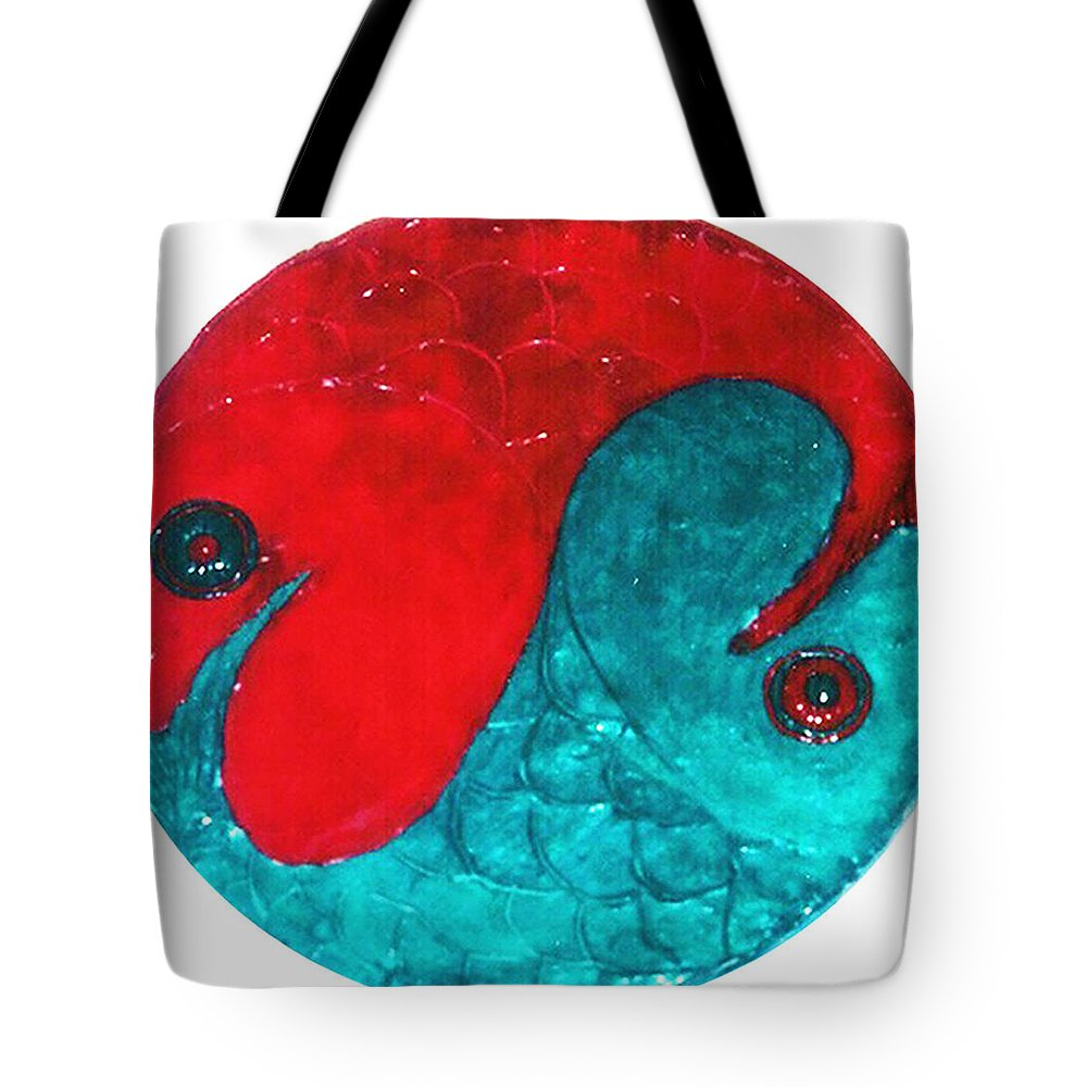 Original Art Tote Bag featuring the relief Harmony by Rae Chichilnitsky
