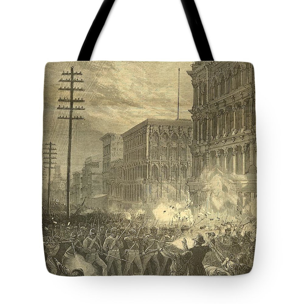 Harpers Sixth Regiment Fighting Railroad Strikers Tote Bag featuring the painting Harpers Sixth Regiment Fighting Railroad Strikers by Celestial Images