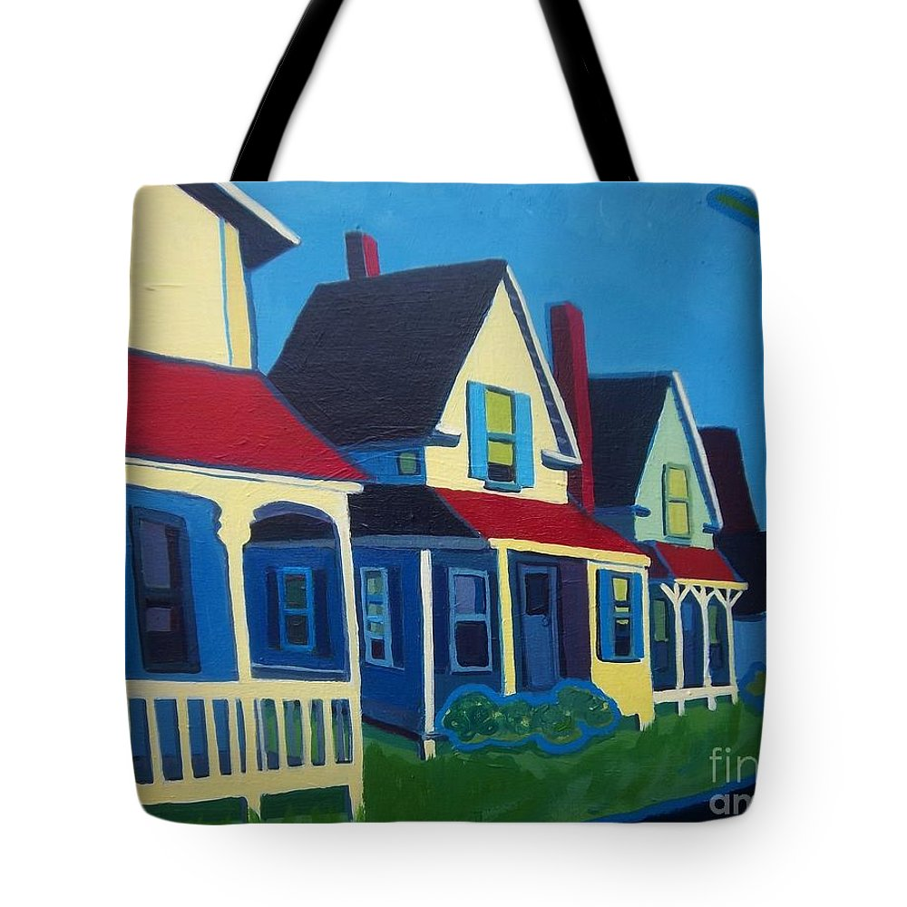 Maine Tote Bag featuring the painting Harpswell Cottages by Debra Bretton Robinson