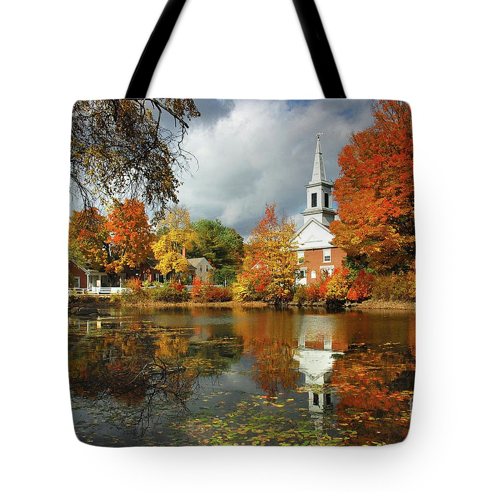 Harrisville New Hampshire Tote Bag featuring the photograph Harrisville New Hampshire - New England Fall Landscape White Steeple by Jon Holiday