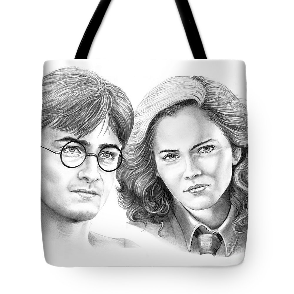 Pencil Tote Bag featuring the drawing Harry Potter And Hermione by Murphy Elliott