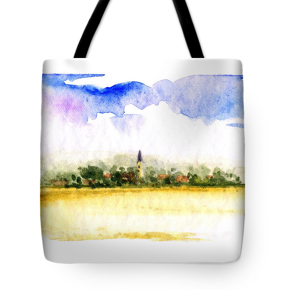 Bavarian Watercolor Landscape Tote Bag featuring the painting Hartkirchen Bavaria by James Higgins