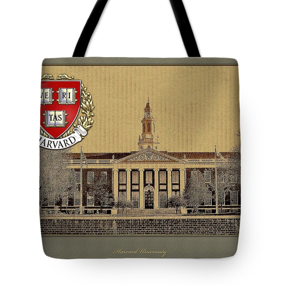 Universities Tote Bag featuring the photograph Harvard University Building With Seal by Serge Averbukh