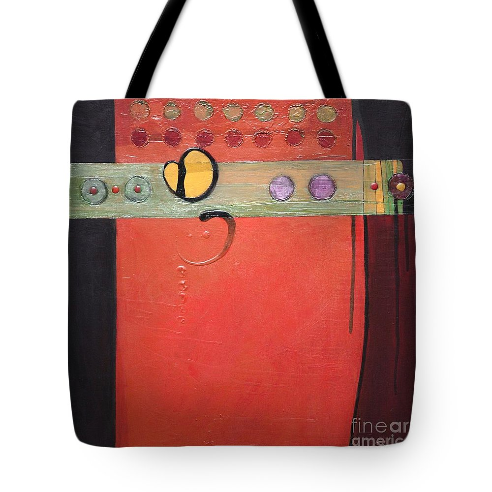 Abstract Tote Bag featuring the painting Harvest Duo 2 by Marlene Burns