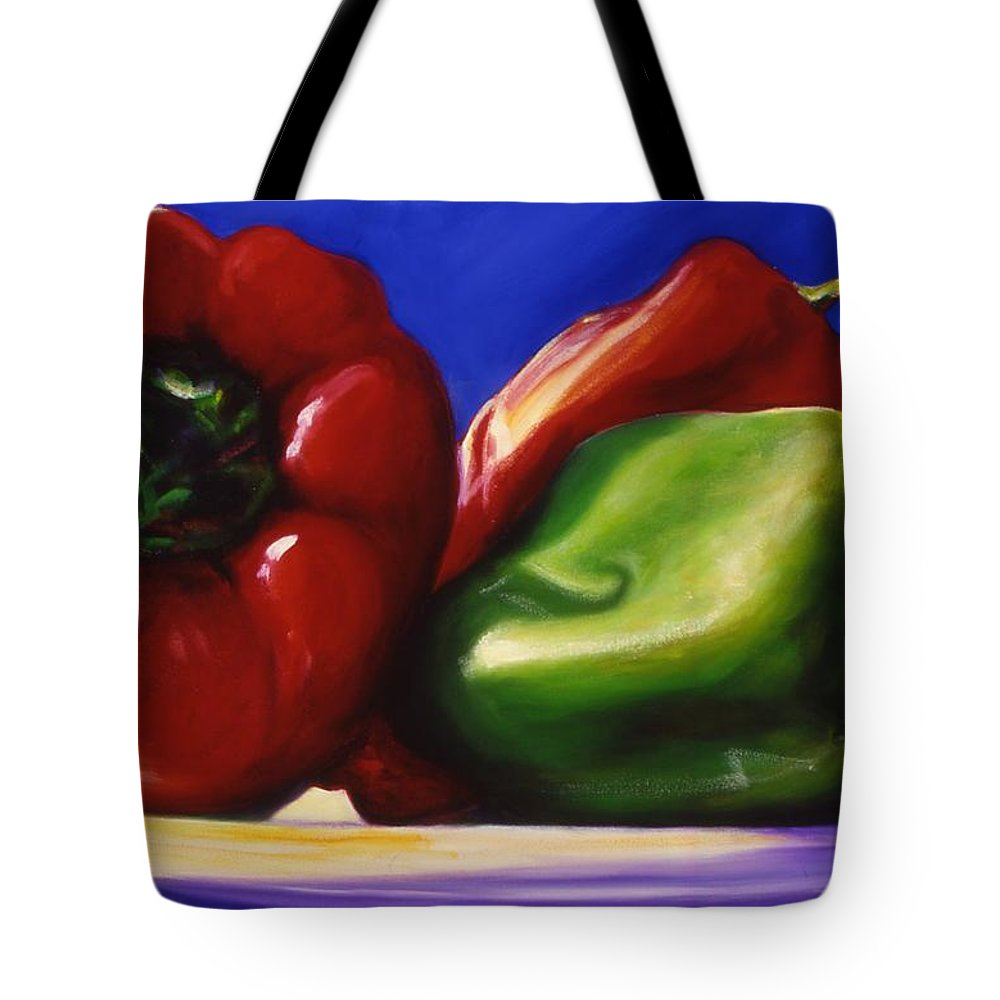 Still Life Tote Bag featuring the painting Harvest Festival Peppers by Shannon Grissom