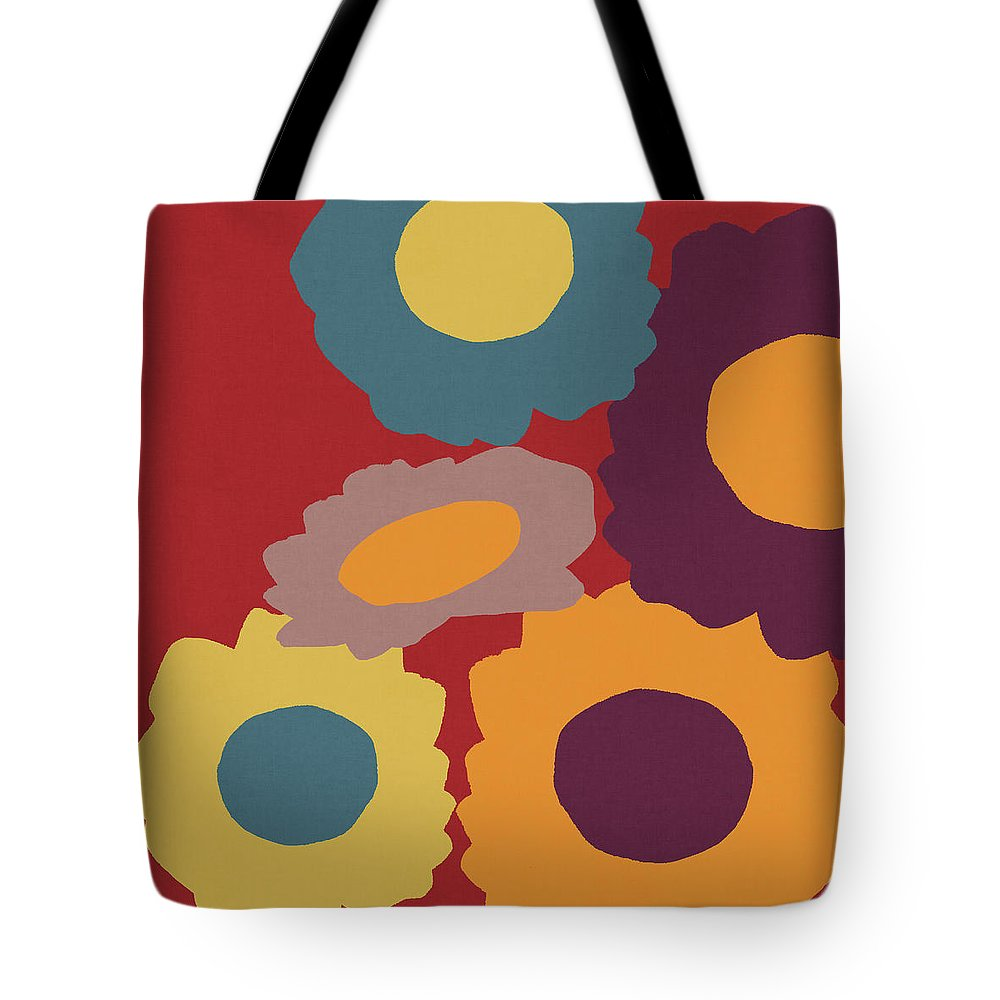 Sunflowers Tote Bag featuring the mixed media Harvest Flowers Red- Art By Linda Woods by Linda Woods