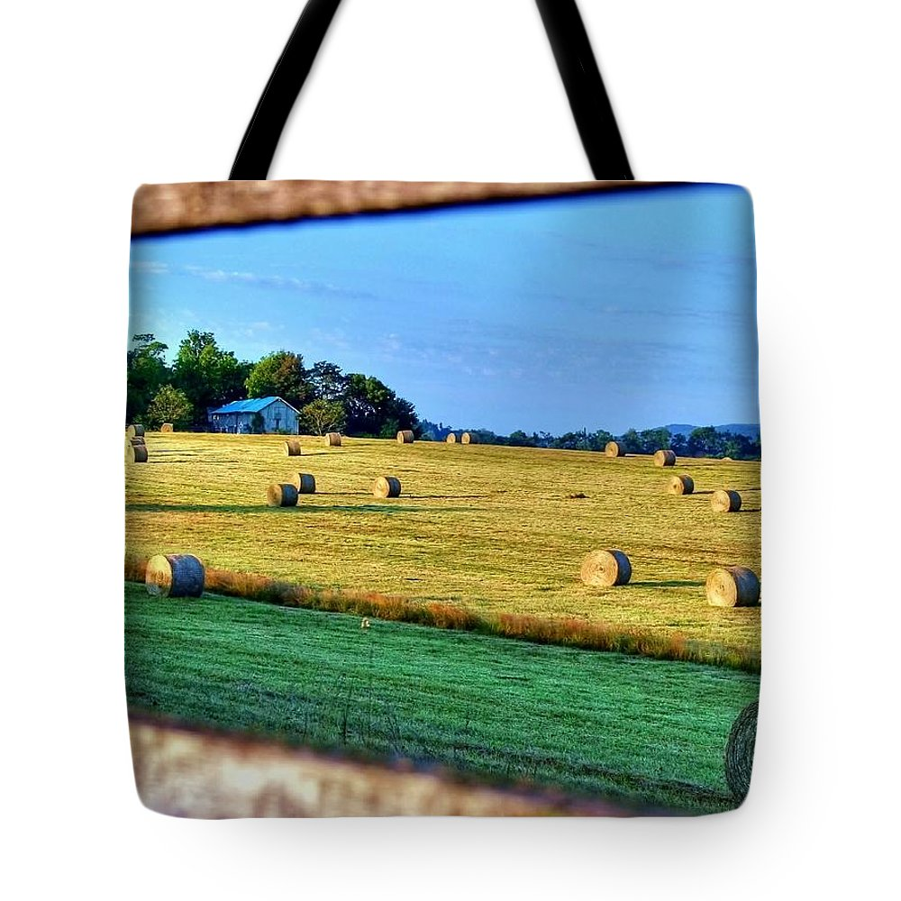 Landscape Tote Bag featuring the photograph Harvest by Mitch Cat