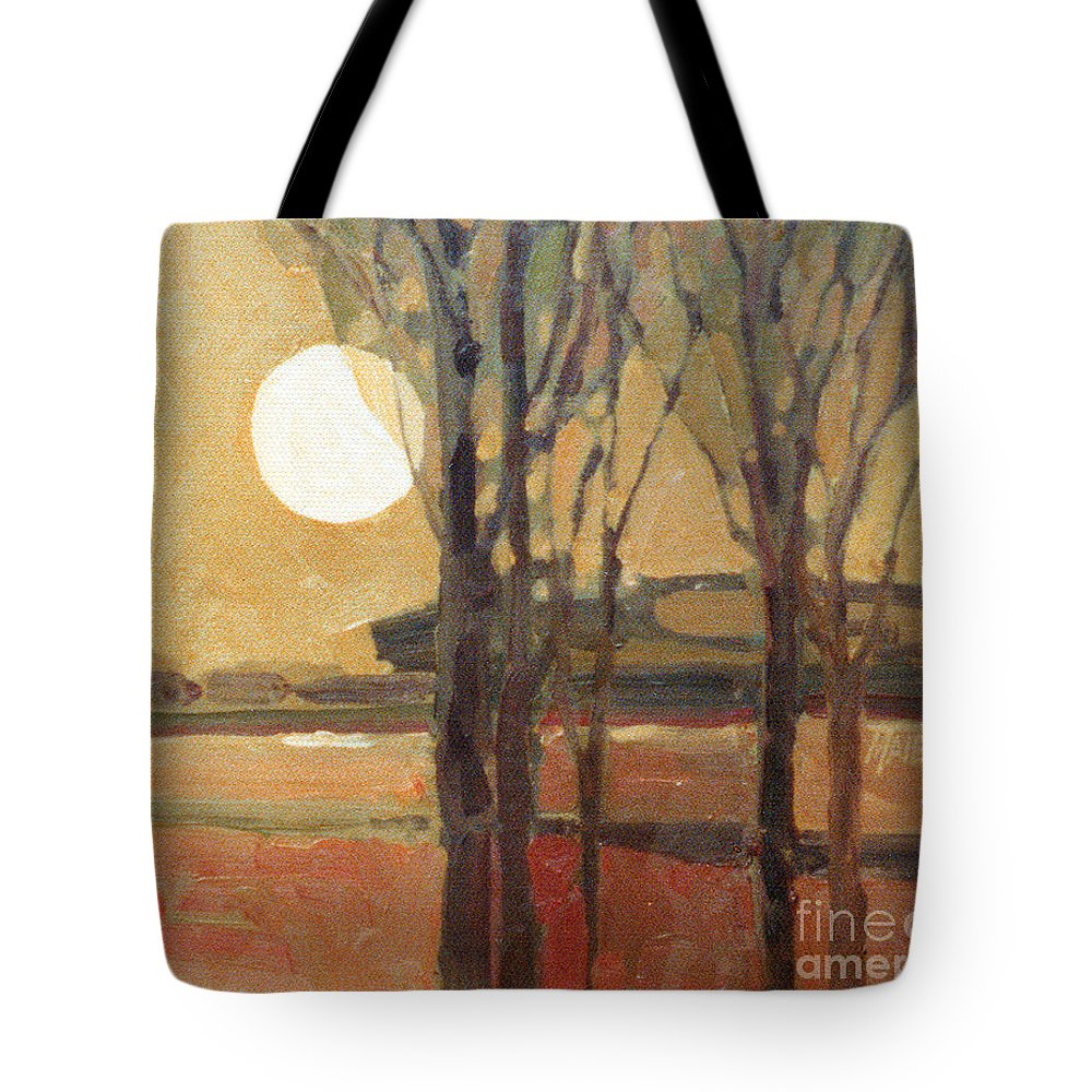 Sunset Tote Bag featuring the painting Harvest Moon by Donald Maier