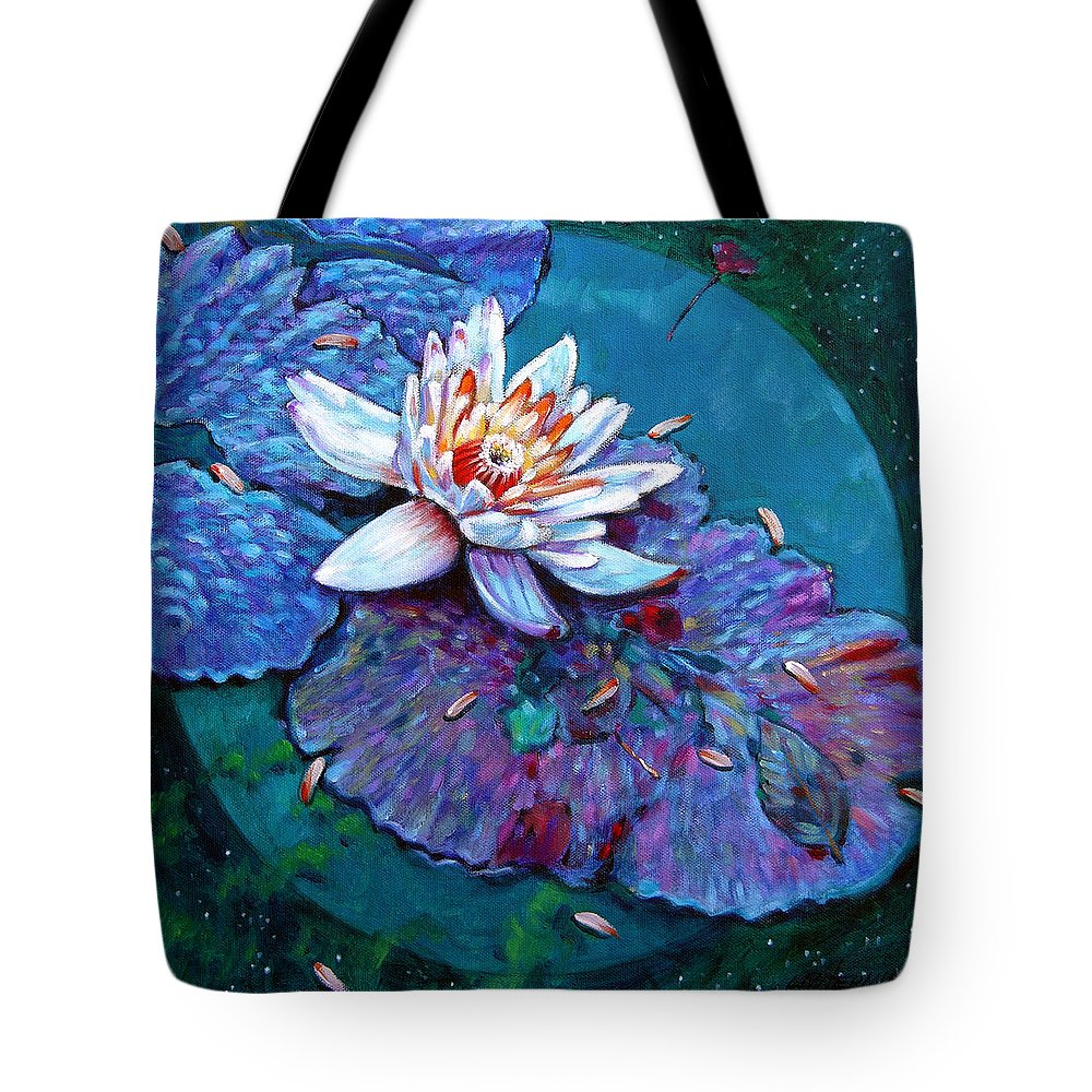 Water Lily Tote Bag featuring the painting Harvest Moon by John Lautermilch