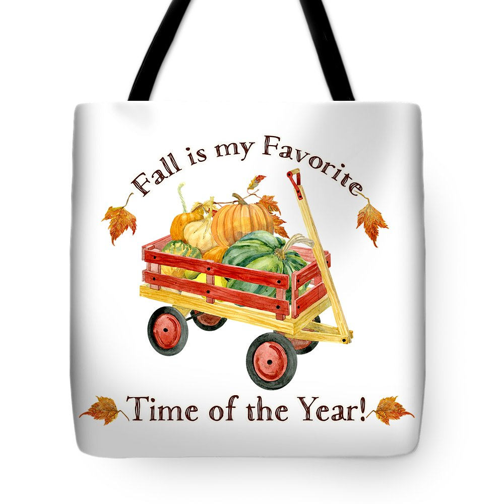 Fall Is My Favorite Tote Bag featuring the painting Harvest Red Wagon Pumpkins N Leaves by Audrey Jeanne Roberts
