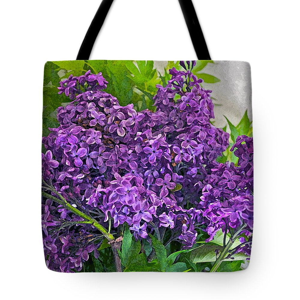 Lilac Tote Bag featuring the photograph Harvesting Aroma by Gwyn Newcombe