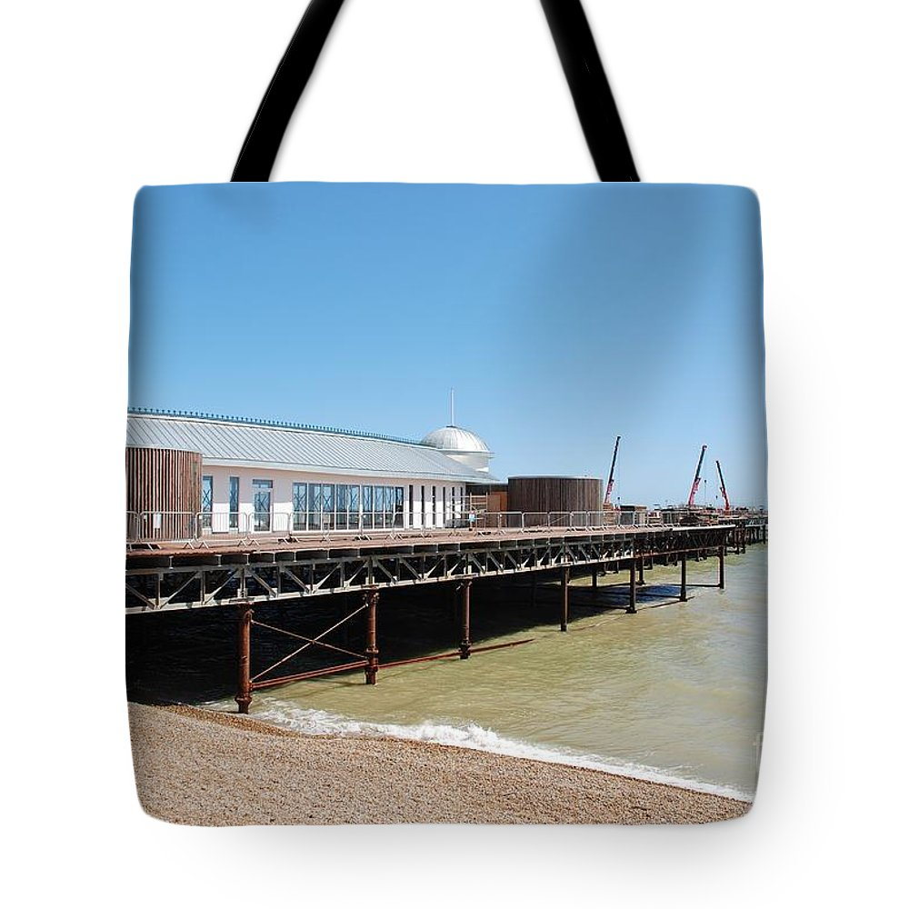 Hastings Tote Bag featuring the photograph Hastings Pier Renovation by David Fowler