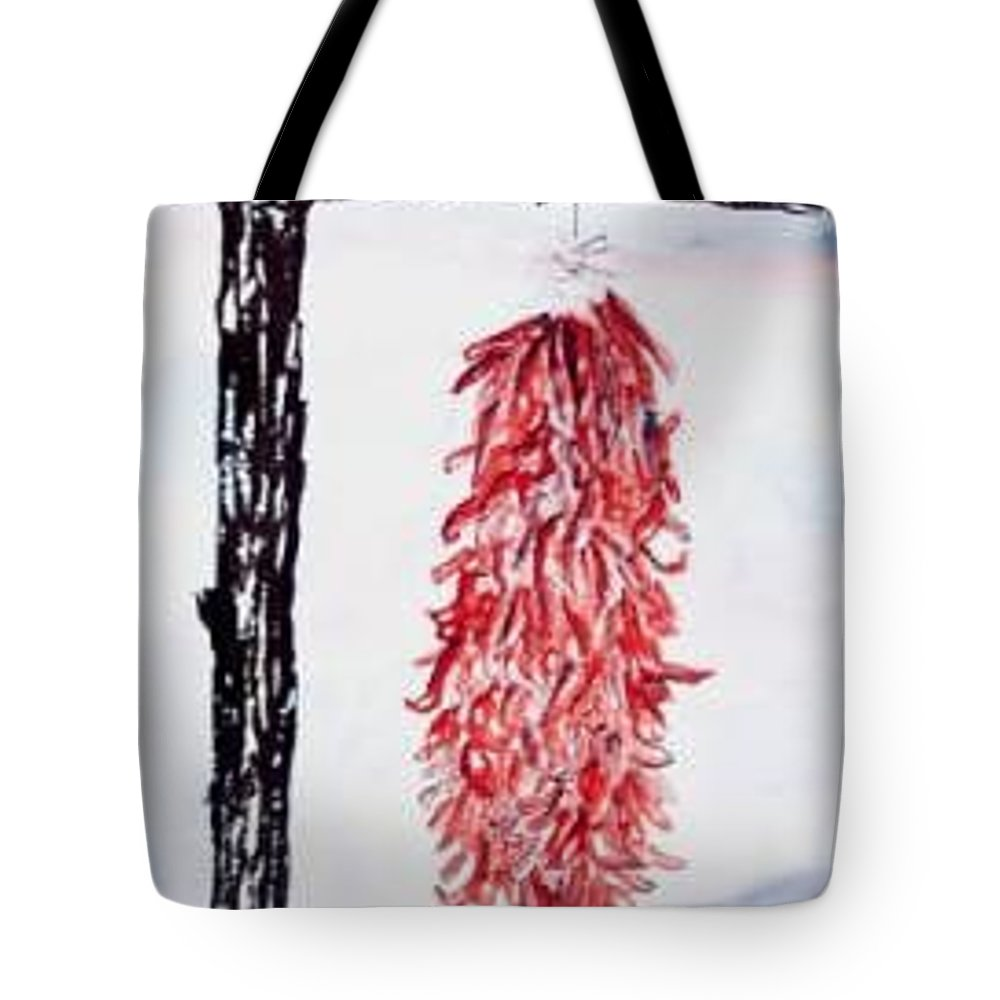 Watercolor Painting Tote Bag featuring the painting Hatch Texas Chili Pepper Painting by Derek Mccrea