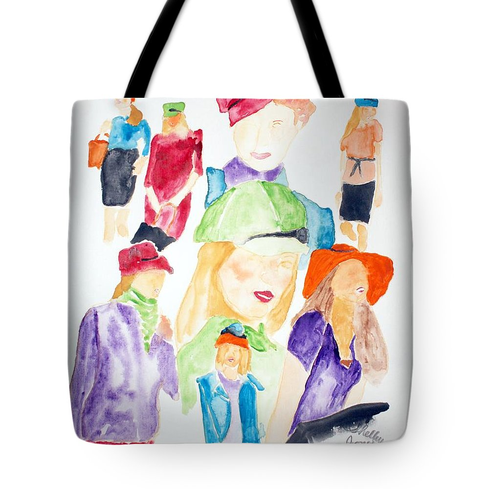 Hats Tote Bag featuring the painting Hats by Shelley Jones