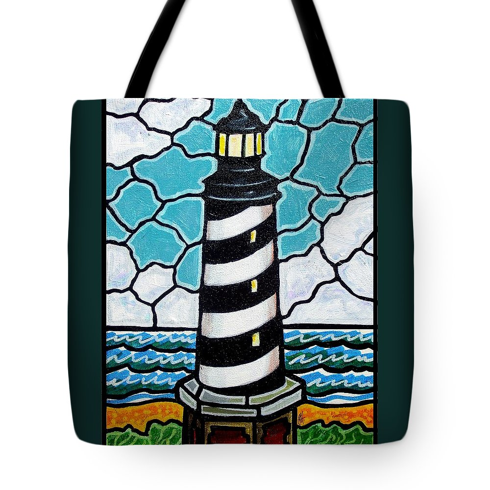 Lighthouse Tote Bag featuring the painting Hatteras Island Lighthouse by Jim Harris