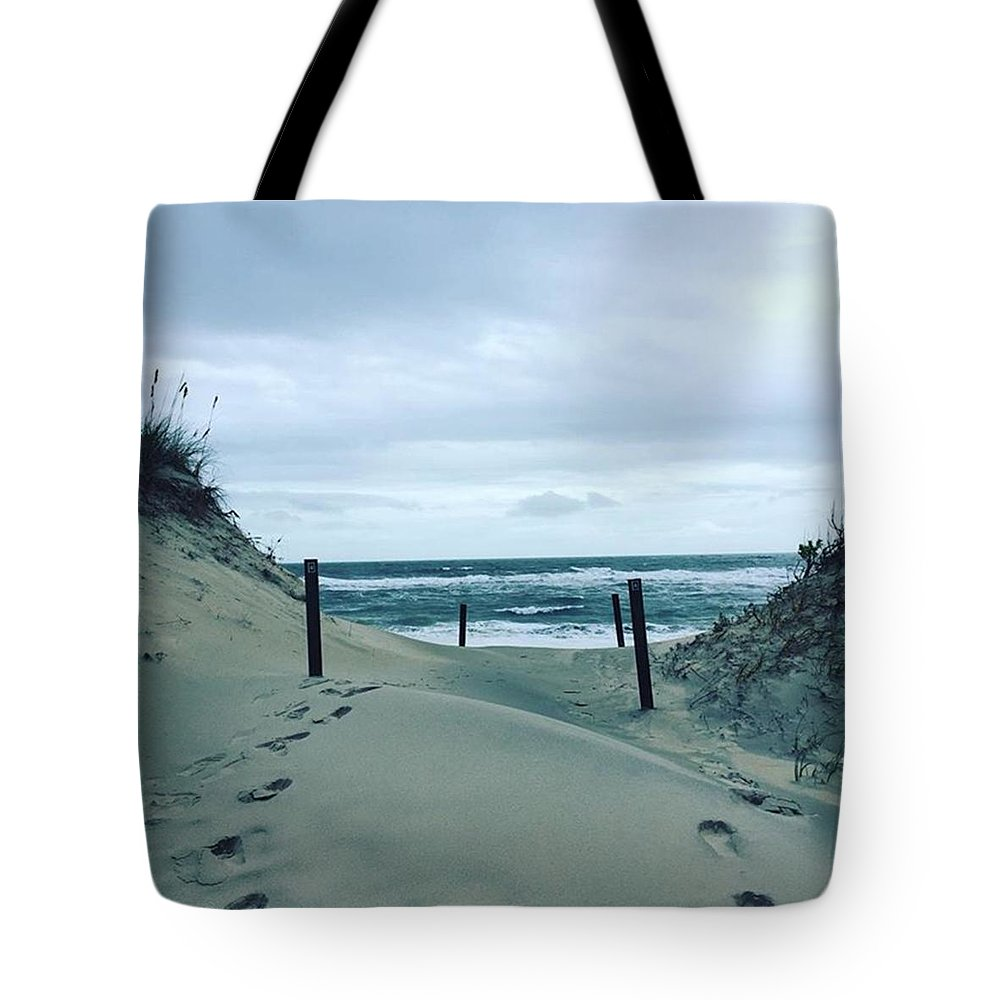 Hatteras Tote Bag featuring the photograph #hatteras #northcarolina #obx #roadtrip by Carlyn Kelley