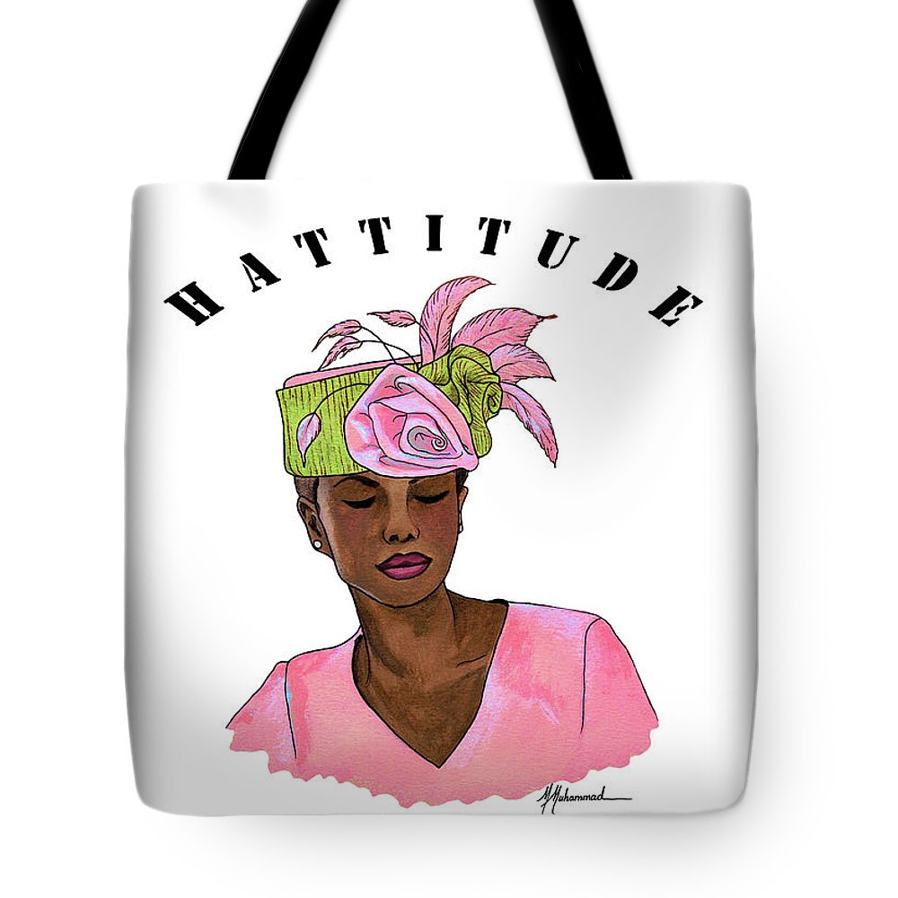 Lady Tote Bag featuring the painting Hattitude #15 by Marcella Muhammad
